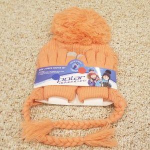 New! Polar Adventure Orange Hat/Gloves Winter Set